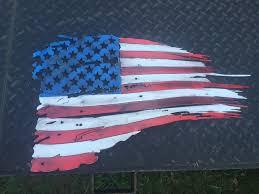 Flags American Tattered Metal American Flag 14