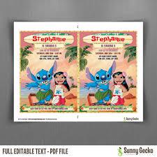 lilo and stitch 5x7 in birthday invitation instant download and