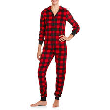 family pajamas buffalo plaid onesies sleepwear union suits