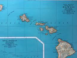Map Hawaii Vintage Hawaii Map Map Of Hawaii 1940s Map Hawaii 1940s Map