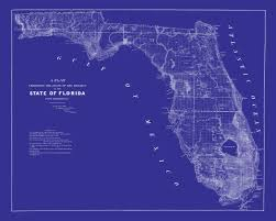 Map Of Florida by 1853 Map Of Florida Vintage Blueprint Map Print Poster