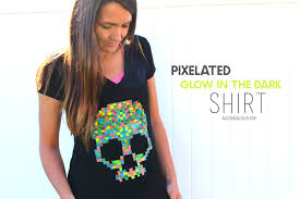halloween pixelated shirt with glow in the dark fabric paint a