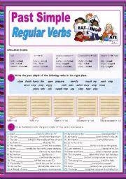 english teaching worksheets past simple regular verbs