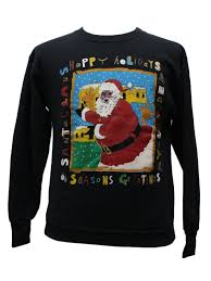santa sweater black santa sweatshirt delta unisex black