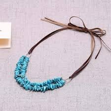 leather necklace knot images Aobei pearl turquoise beaded statement personalized necklace jpg