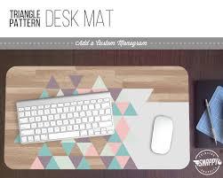 zebra print desk accessories pastel triangle wood pattern print desk mat w custom monogram