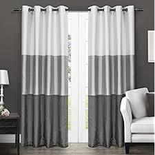 Black And Gray Curtains Exclusive Home Curtains Chateau Striped Faux Silk
