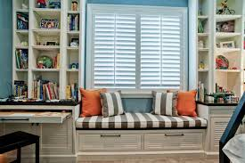 decorating ideas cool boys room bay window seat design with cool boys room bay window seat design with stripes padded and white window blinds also open white wooden shelves plus 2 drawers benches