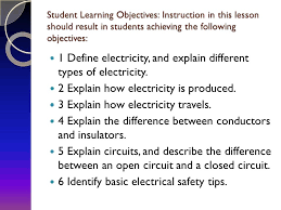 basic electricity interest approach have students make a list of