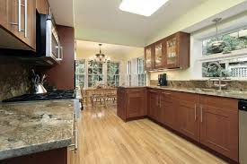 Galley Style Kitchen Designs Galley Style Kitchen With Dark Wood Shaker Style Cabinets And Dark