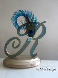 peacock wedding cake topper gatsby wedding topper monogram r topper letter cake topper