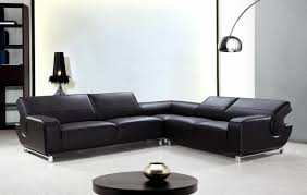 l shaped black leather sectional sofa with adjustable backrests