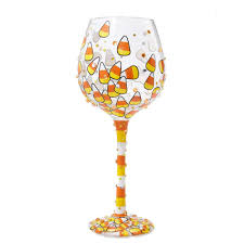 sugar skull home decor decoration multicolor sugar skulls wine glass hand painted and