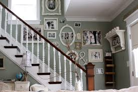 wall decor ideas with picture frame staircase shabby chic style