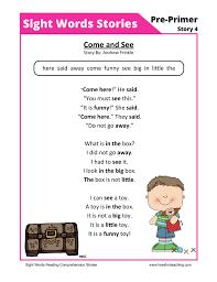 sight words stories 4 reading comprehension worksheet