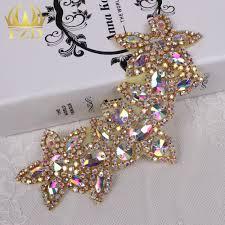 popular applique rhinestone crystal buy cheap applique rhinestone 30pieces wholesale sewing on gold crystal beaded ab rhinestone applique for wedding dress bridal