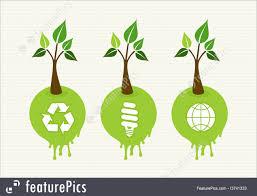 illustration of green concept tree icon set