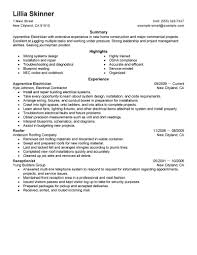 Printable Resume Samples Free Printable Apprentice Electrician Resume Sample With Extensive