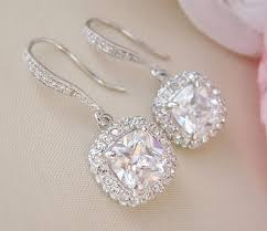 bridal jewelry gorgeous cushion cut bridal earrings wedding earrings bridal