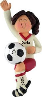 soccer ornaments to personalize soccer player brown hair personalized christmas ornament