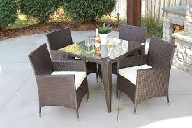 Outdoor All Weather Wicker Furniture by Amazon Com 5 Pc Modern Outdoor All Weather Wicker Rattan Table