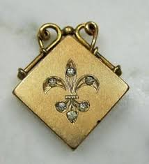 monogrammed locket antique w h co gf jeweled fleur de lis monogrammed