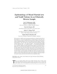 epidemiology of mixed martial arts and youth violence in an