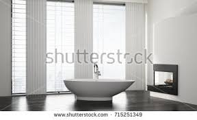 Tile Front Of Bathtub Front View Bathroom Interior White Tub Stock Illustration
