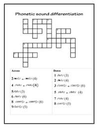 printable phonetics crossword exercises worksheets