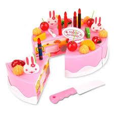 jeu de cuisine gateau 37pcs jouet de coupe en plastique jeu de gâteau d anniversaire