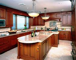Cherry Kitchen Cabinets With White Island Titandish Decoration - Light cherry kitchen cabinets