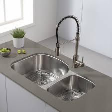 Stainless Steel Undermount Sink Kraus Kbu23 32 Inch Undermount 60 40 Double Bowl 16 Gauge