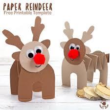 free printable template accordion paper reindeer craft kids