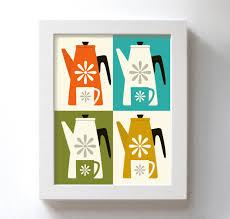 modern kitchen artwork mid century art for kitchen art print catherineholm coffee pot