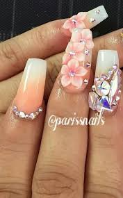 Rhinestone Nail Design Ideas Pink Pastel Rhinestone Ombre Floral Nailart Flower Nails Design