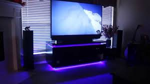home theater system and custom entertainment cabinet with led