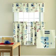 Walmart Mainstays Curtains Mainstays Lighthouse Printed Valance And Kitchen Curtains Set