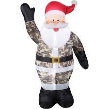 gemmy airblown christmas inflatables 7 u0027 santa in camo walmart com