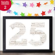 25 anniversary gift 25th silver wedding anniversary gift personalised word print