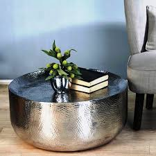 table round hammered metal coffee table modern compact round