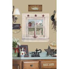 French Country Bathroom Accessories by Roommates 27 In X 40 In Outhouse Window And Signs 9 Piece Peel