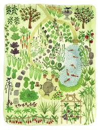 garden layout design illustration from