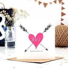 print monogram wedding anniversary card by made with