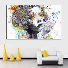 2017 pictures modern art with flowers unframed canvas
