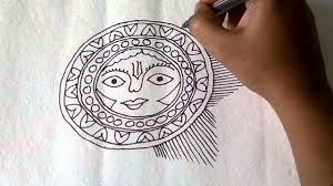 lesson 11 ह न द draw a sun sketch in madhubani painting