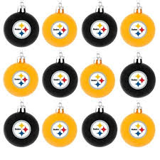pittsburgh steelers nfl 12 pack plastic ball ornament set