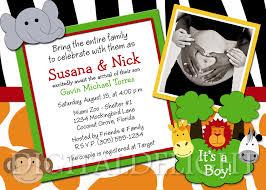 safari jungle friends baby shower ultrasound photo invitation