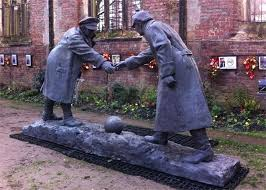 christmas truce football statue unveiled in liverpool bbc news
