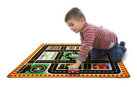 Kids Play Rugs With Roads by Amazon Com Melissa U0026 Doug Round The City Rescue Rug With 4 Wooden