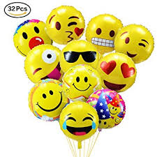 party balloons povkeever emoji party balloons 18 inch foil helium balloons for